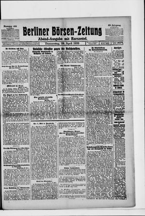 Berliner Börsen-Zeitung vom 29.04.1920