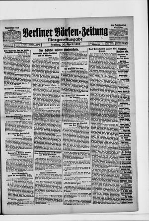 Berliner Börsen-Zeitung vom 30.04.1920