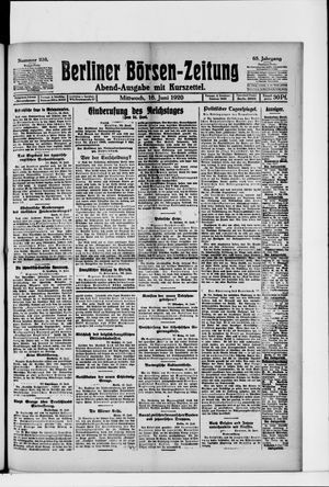 Berliner Börsen-Zeitung vom 16.06.1920