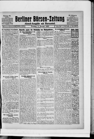 Berliner Börsen-Zeitung vom 07.01.1921