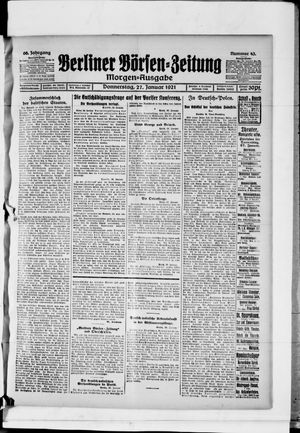 Berliner Börsen-Zeitung vom 27.01.1921