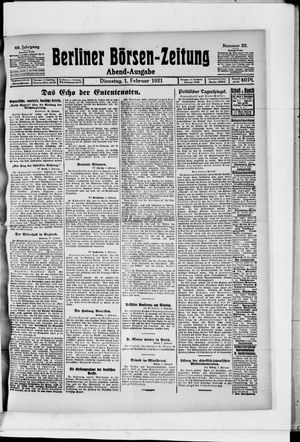 Berliner Börsen-Zeitung vom 01.02.1921