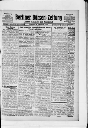 Berliner Börsen-Zeitung vom 14.02.1921