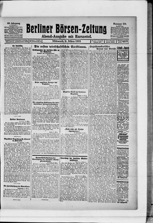 Berliner Börsen-Zeitung vom 09.03.1921