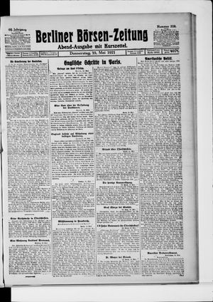 Berliner Börsen-Zeitung vom 19.05.1921