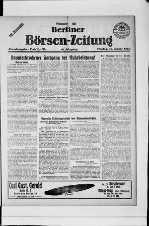 Berliner Börsen-Zeitung vom 15.01.1923