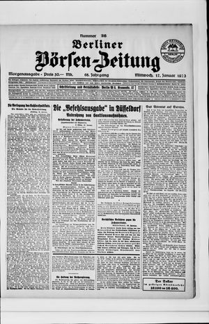 Berliner Börsen-Zeitung vom 17.01.1923