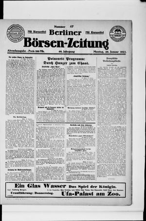 Berliner Börsen-Zeitung on Jan 29, 1923