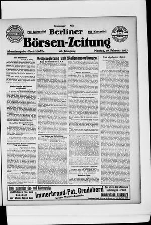 Berliner Börsen-Zeitung vom 19.02.1923