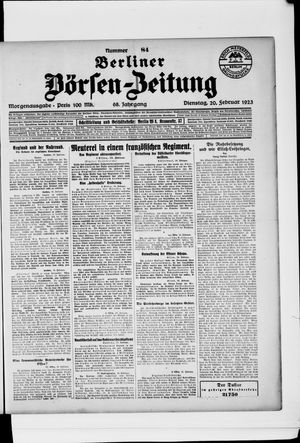 Berliner Börsen-Zeitung vom 20.02.1923