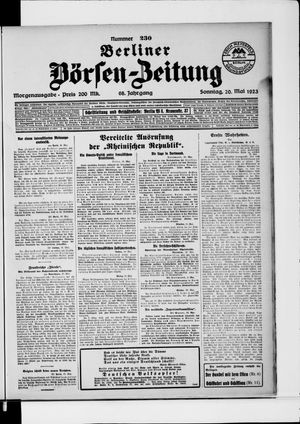Berliner Börsen-Zeitung vom 20.05.1923