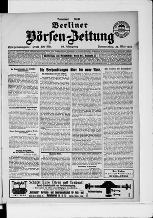 Berliner Börsen-Zeitung vom 31.05.1923