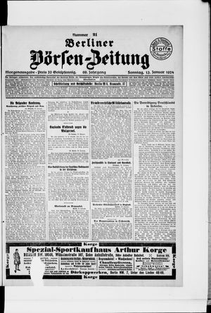 Berliner Börsen-Zeitung vom 13.01.1924