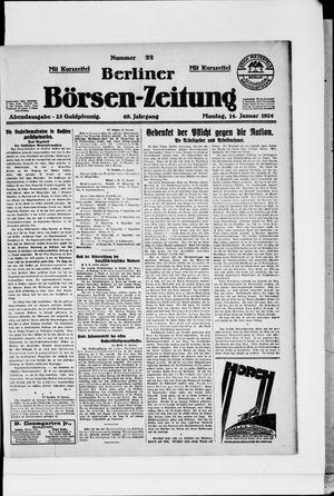 Berliner Börsen-Zeitung on Jan 14, 1924