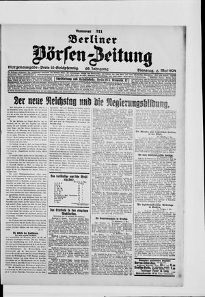 Berliner Börsen-Zeitung vom 06.05.1924