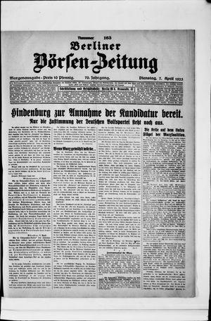 Berliner Börsen-Zeitung vom 07.04.1925
