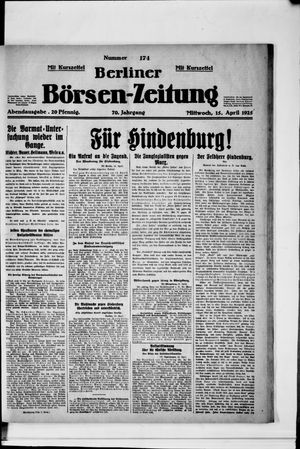Berliner Börsen-Zeitung vom 15.04.1925