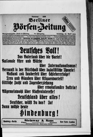 Berliner Börsen-Zeitung on Apr 26, 1925