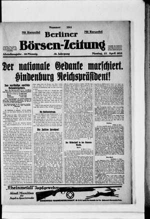 Berliner Börsen-Zeitung vom 27.04.1925
