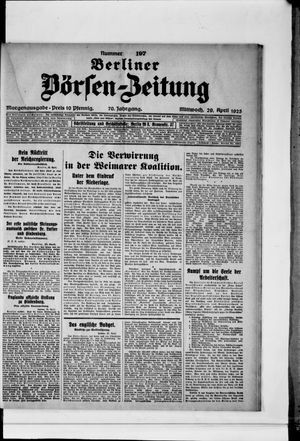 Berliner Börsen-Zeitung vom 29.04.1925