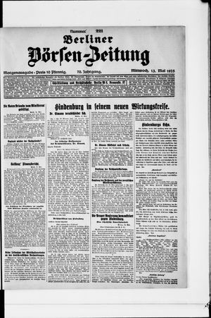 Berliner Börsen-Zeitung vom 13.05.1925