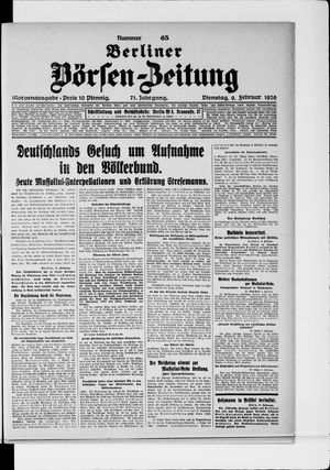 Berliner Börsen-Zeitung vom 09.02.1926