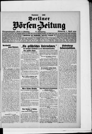 Berliner Börsen-Zeitung vom 07.04.1926