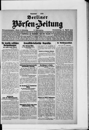 Berliner Börsen-Zeitung vom 15.04.1926