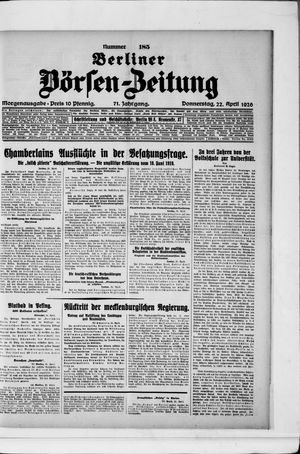 Berliner Börsen-Zeitung vom 22.04.1926