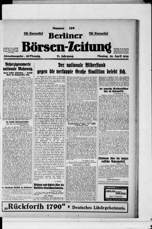 Berliner Börsen-Zeitung vom 26.04.1926