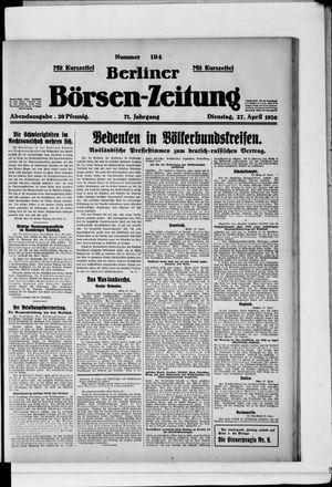 Berliner Börsen-Zeitung vom 27.04.1926