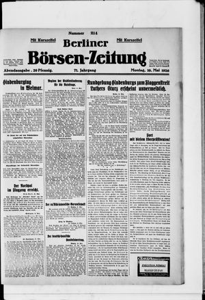 Berliner Börsen-Zeitung vom 10.05.1926