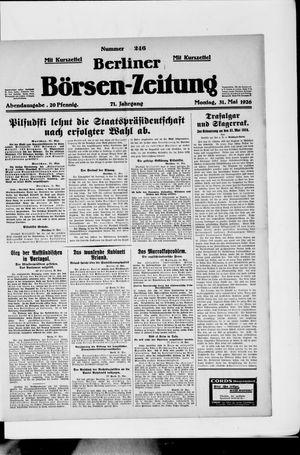 Berliner Börsen-Zeitung vom 31.05.1926