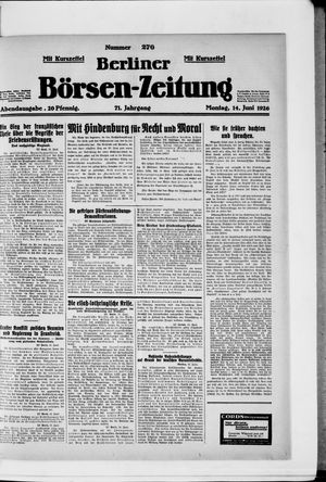 Berliner Börsen-Zeitung vom 14.06.1926