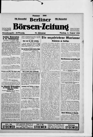 Berliner Börsen-Zeitung vom 09.08.1926