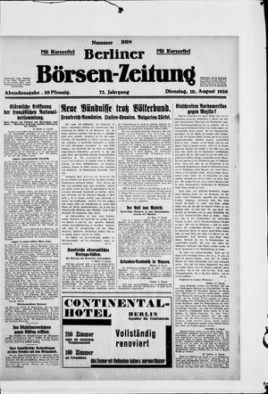 Berliner Börsen-Zeitung vom 10.08.1926