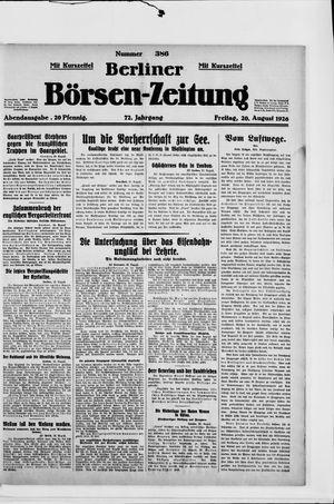 Berliner Börsen-Zeitung vom 20.08.1926