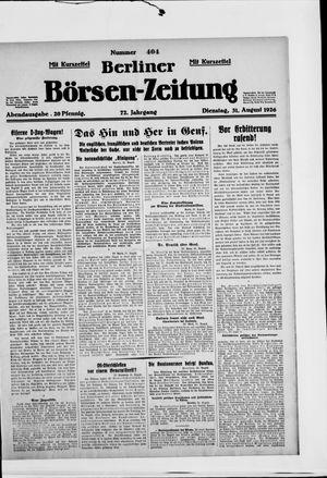 Berliner Börsen-Zeitung vom 31.08.1926