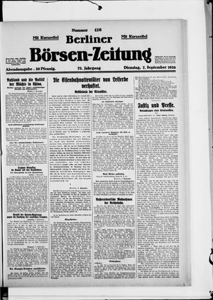 Berliner Börsen-Zeitung vom 07.09.1926