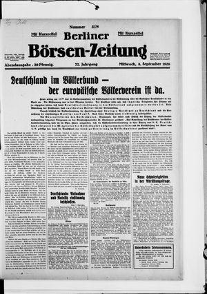 Berliner Börsen-Zeitung vom 08.09.1926