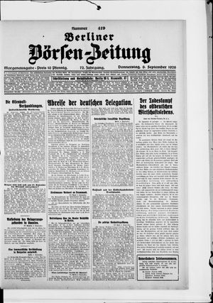 Berliner Börsen-Zeitung vom 09.09.1926