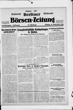 Berliner Börsen-Zeitung vom 13.09.1926