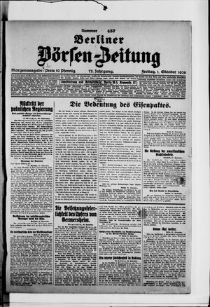 Berliner Börsen-Zeitung vom 01.10.1926