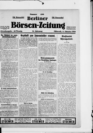 Berliner Börsen-Zeitung vom 06.10.1926