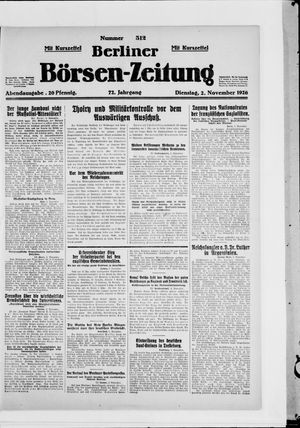 Berliner Börsen-Zeitung vom 02.11.1926