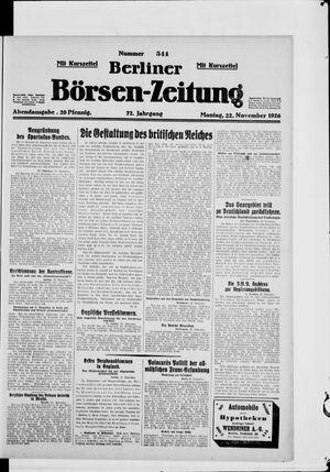 Berliner Börsen-Zeitung vom 22.11.1926