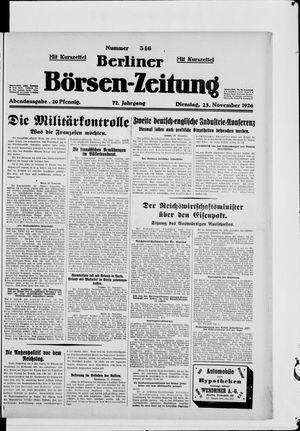 Berliner Börsen-Zeitung vom 23.11.1926