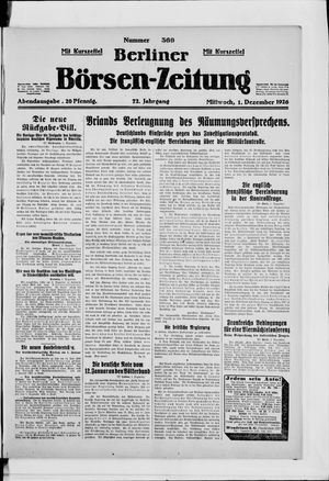 Berliner Börsen-Zeitung vom 01.12.1926
