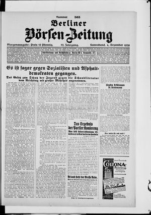 Berliner Börsen-Zeitung vom 04.12.1926