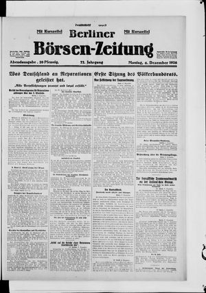 Berliner Börsen-Zeitung vom 06.12.1926